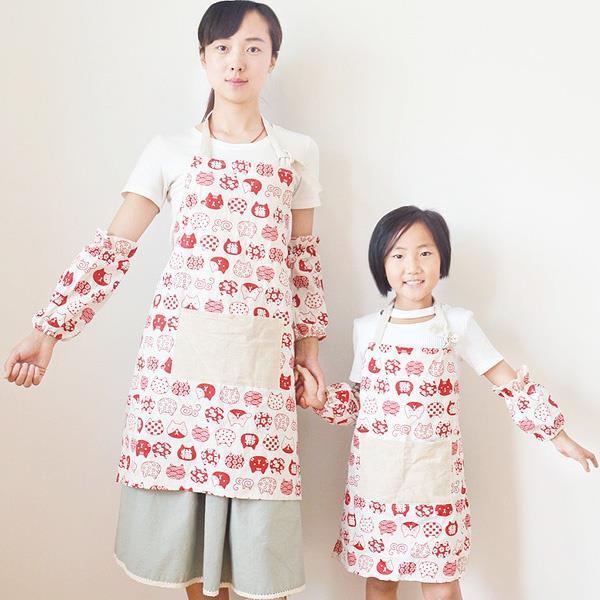 和風塗鴉日本貓棉麻圍裙[成人款]無袖套(藍色)