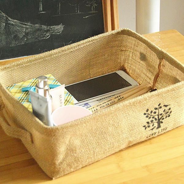 小樹盆栽褐黄棉麻淺口手提長方型收納盒(隨機出貨)