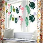熱帶雨林火烈鳥鳳梨旗幟/擺飾/派對旗(綠色)