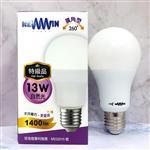 【NEWWIN】臺灣製 13W 全電壓LED廣角型球泡燈 (自然光/防水燈泡) 4入1組
