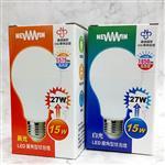 【NEWWIN】臺灣製 15W 全電壓LED廣角型球泡燈 (白光/黃光-防水燈泡) 4入1組