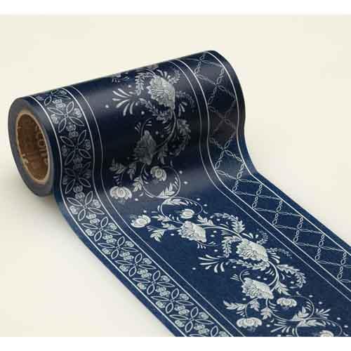 日本decolfa室內裝潢紙膠帶-深藍花M3715(寬度10cm)
