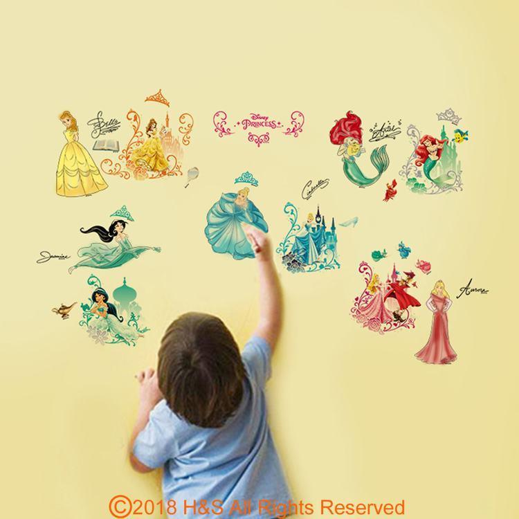 【迪士尼】夢幻公主著色壁貼(30x90cm盒裝)1入