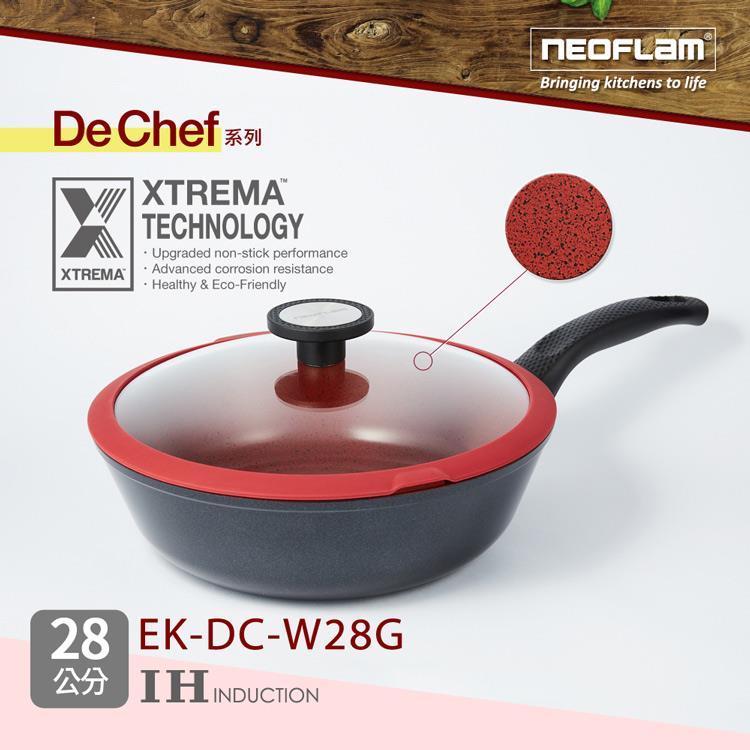 韓國NEOFLAM De Chef系列 28cm陶瓷不沾炒鍋+玻璃蓋 (EK-DC-W28G)