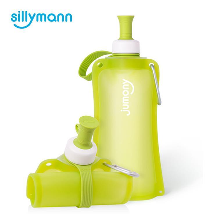 【韓國sillymann】 100%簡約便攜捲式鉑金矽膠水瓶-550ml-蘋果綠