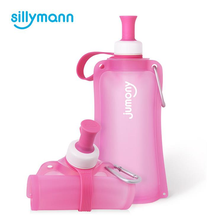 【韓國sillymann】 100%簡約便攜捲式鉑金矽膠水瓶-550ml-甜心粉
