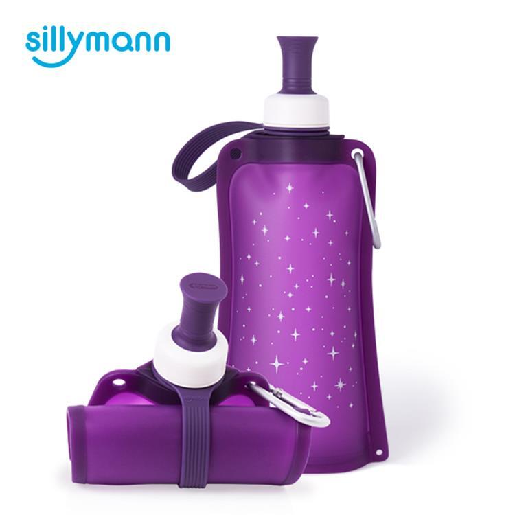 【韓國sillymann】 100%時尚便攜捲式鉑金矽膠水瓶-550ml-星空紫