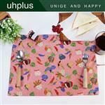 uhplus 樂食餐墊-樂食和風蔬果(粉紅)