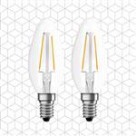 順合光電 全電壓 4W E14 LED復古鎢絲尖清燈泡-黃光(2入)
