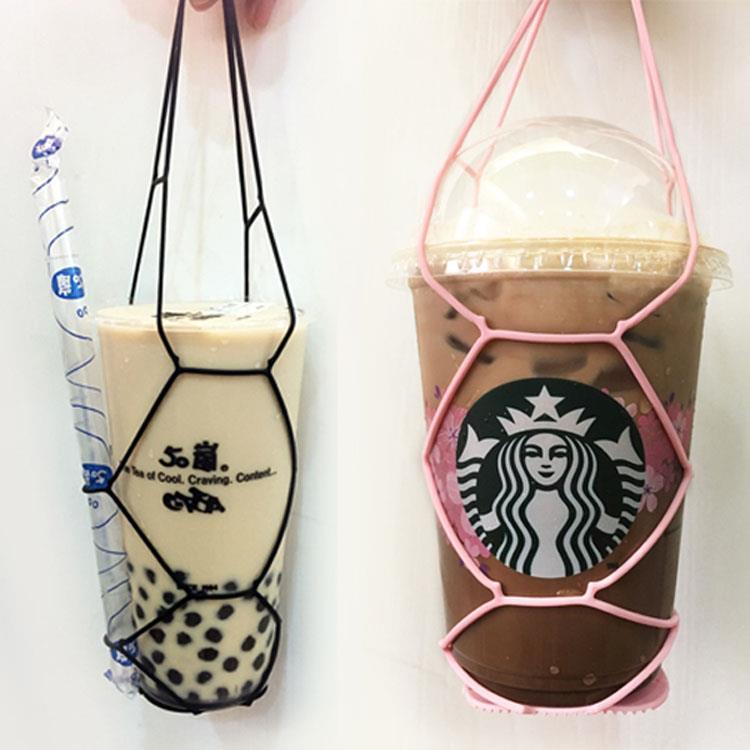 Kalo卡樂創意 環保矽膠飲料提袋 杯套 手搖杯 飲料袋 環保提袋-黃色