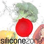 【Siliconezone】20cm施理康耐熱矽膠食物瀝水網杓-亮紅色(小)