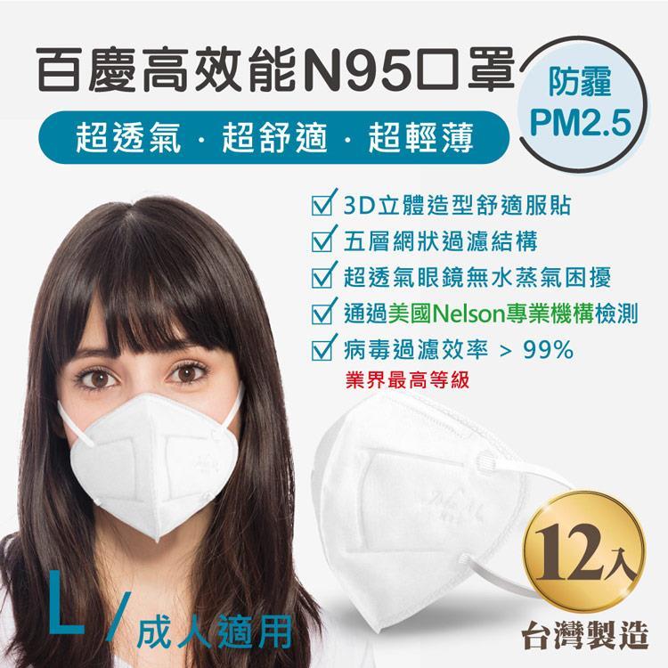 John m.百慶N95高效能口罩 成人適用 (12入)
