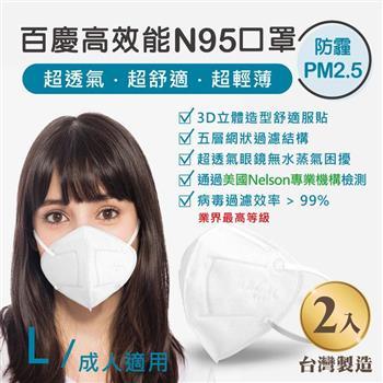 John m.百慶N95高效能口罩 成人適用 (2入)