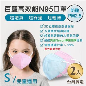 John m.百慶N95高效能口罩 兒童適用 (2入)