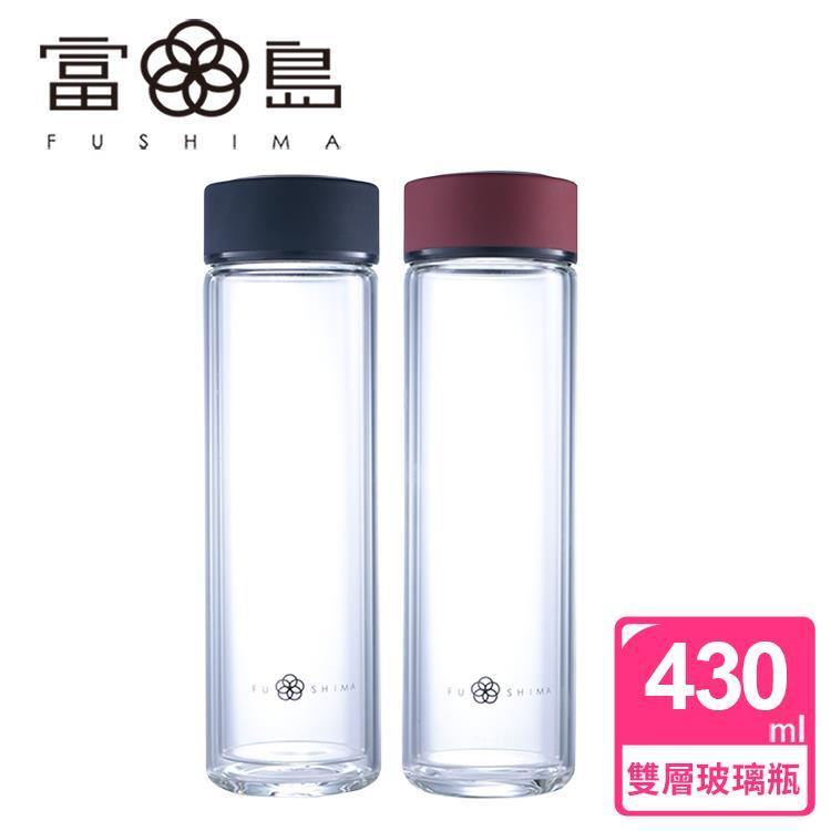 【FUSHIMA 富島】禪風雅雙層隔熱厚底玻璃隨手瓶430ML(2色可選)