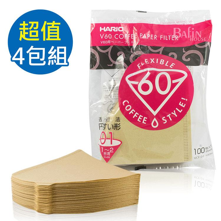 【HARIO】V60 日本製 2人份無漂白濾紙 400張(VCF-01-100M**4)
