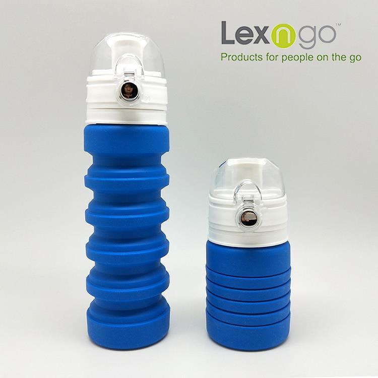 LEXNGO摺疊矽膠水壺-藍色
