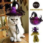 【摩達客】寵物萬聖節派對-紫色蜘蛛巫婆帽變裝造型貓咪小狗頭飾