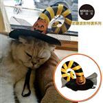 【摩達客】寵物萬聖節派對-黃黑彎角網紗南瓜巫婆帽變裝造型貓咪小狗頭飾