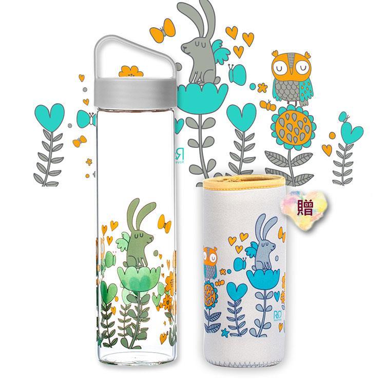 【Royal Duke】提把式玻璃水瓶/隨行杯600ml-兔子貓頭鷹(贈同款花色布套)
