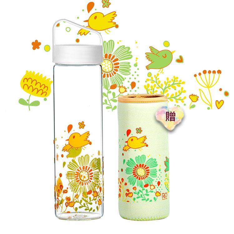 【Royal Duke】提把式玻璃水瓶/隨行杯600ml-花與鳥(贈同款花色布套)