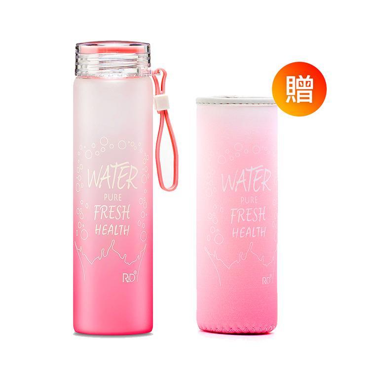 【Royal Duke】超冰涼漸層隨身玻璃水瓶-粉紅(廣口設計410ml)