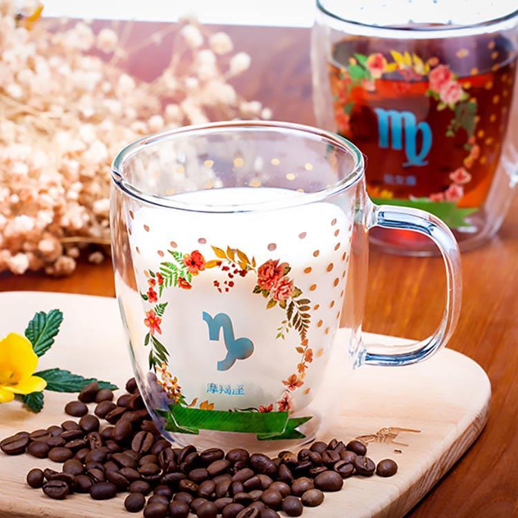 【Royal Duke】雙層玻璃咖啡杯/馬克杯-12星座杯(380ml)