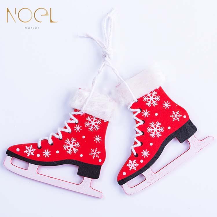 【NOEL諾也家飾】木質冰刀雪鞋聖誕樹吊飾(3款可選)