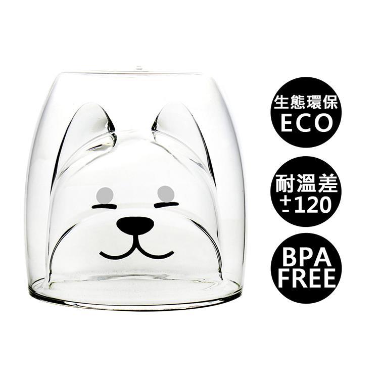 【Trilogy】耐熱雙層玻璃杯_柴犬200ml(2入組)