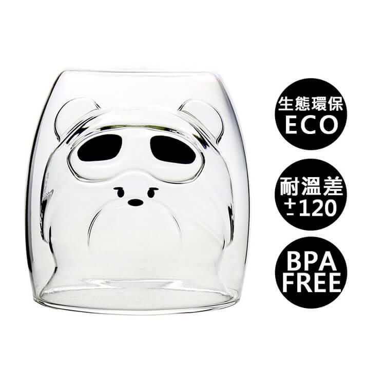【Trilogy】耐熱雙層玻璃杯_空軍熊250ml(2入組)