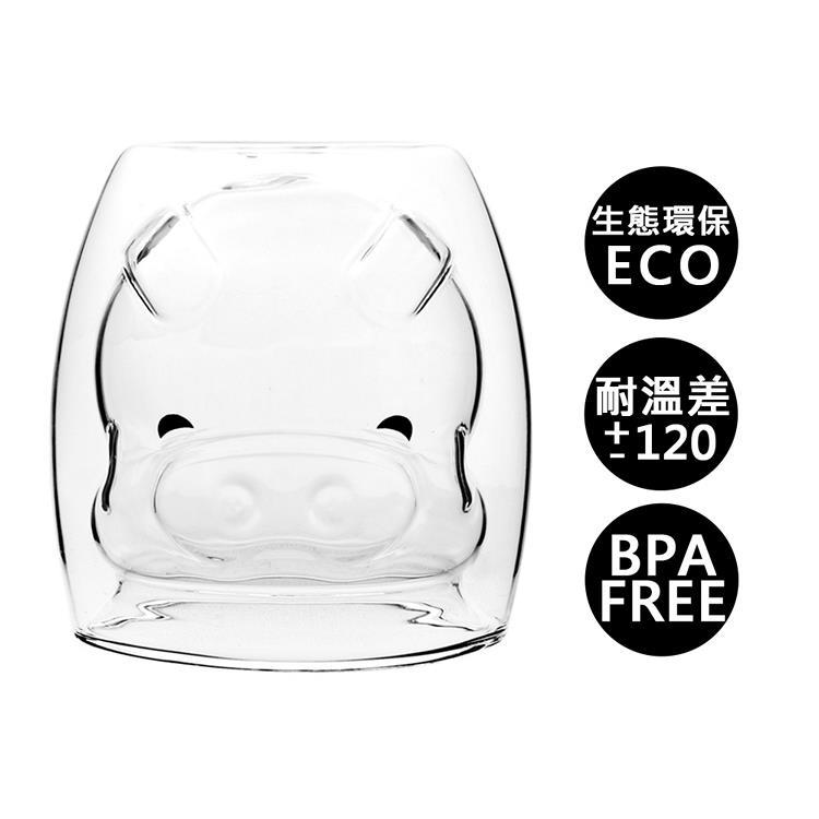 【Trilogy】耐熱雙層玻璃杯_可愛豬250ml(2入組)