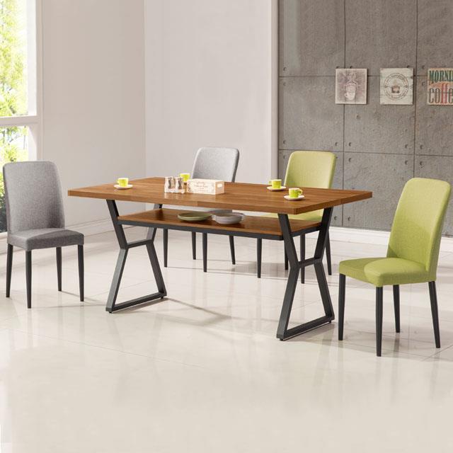 《YoStyle》愛德琳工業風5尺餐桌椅組(一桌四椅)