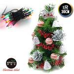 【摩達客】台灣製迷你1呎/1尺(30cm)裝飾綠色聖誕樹(銀鐘糖果球系)+20燈鎢絲樹燈串
