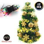 【摩達客】台灣製迷你1呎/1尺(30cm)裝飾綠色聖誕樹(金球雪花系)+20燈鎢絲樹燈串