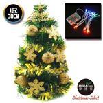 【摩達客】台灣製迷你1呎/1尺(30cm)裝飾綠色聖誕樹(金球雪花系)+LED20燈彩光電池燈