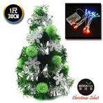 【摩達客】台灣製迷你1呎/1尺(30cm)裝飾綠色聖誕樹(綠球雪花系)+LED20燈彩光電池燈