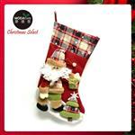 18吋蘇格蘭格紋聖誕襪-聖誕老公公款