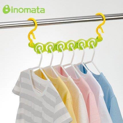 【大國屋】日本製INOMATA6孔分隔、防風型曬衣架荷重5KG-綠色