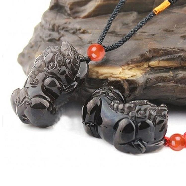 【十相自在】純黑黑曜石貔貅吊墜項鍊