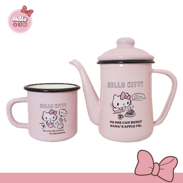 [Hello 生活館] Hello Kitty琺瑯手沖杯壺組
