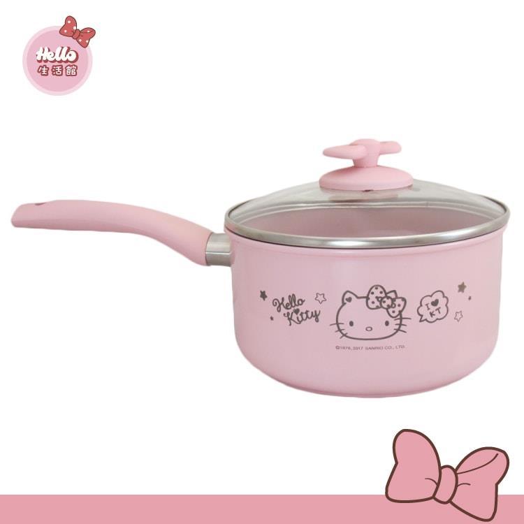[Hello 生活館] Hello Kitty陶瓷單柄湯鍋, 18cm(附鍋蓋, 鍋墊)