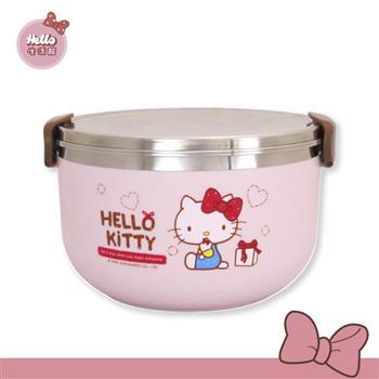[Hello 生活館] Hello Kitty 不鏽鋼圓形隔熱餐盒1000ml