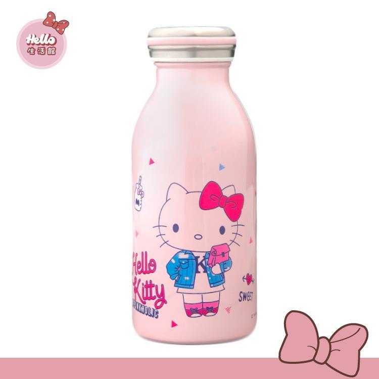 [Hello 生活館] Hello Kitty 真空不鏽鋼牛奶瓶Pinkholic/350ml