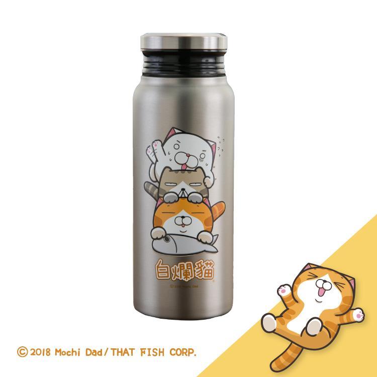 [Hello 生活館] 白爛貓真空不鏽鋼保溫保冷瓶-灰色580ml