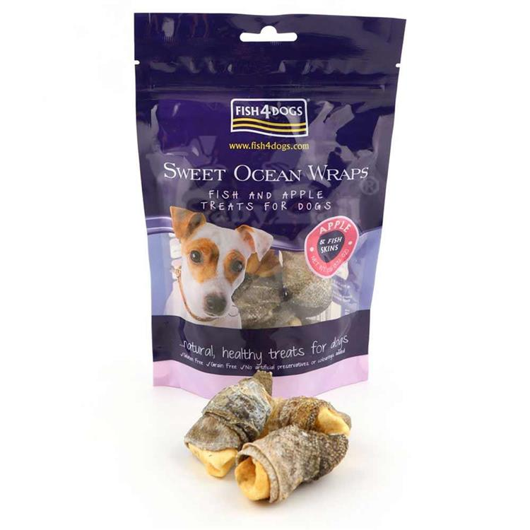 海洋之星FISH4DOGS 營養潔齒點心 蘋果派魚皮(100g*2入)