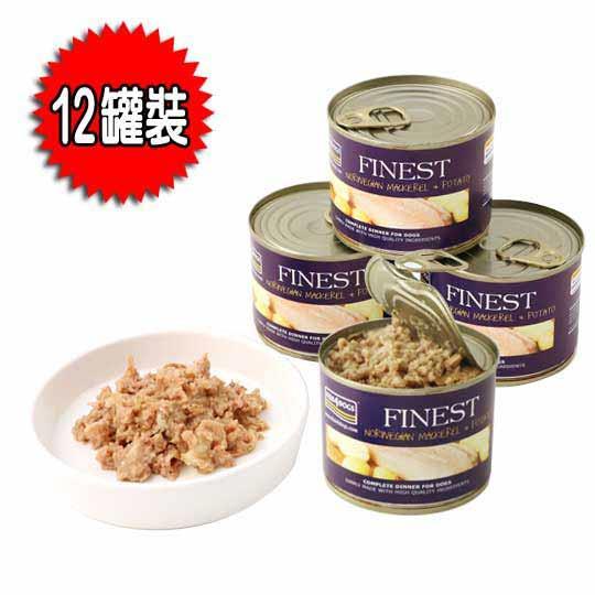 海洋之星FISH4DOGS 挪威鯖魚馬鈴薯主食犬罐(185g**12罐裝)