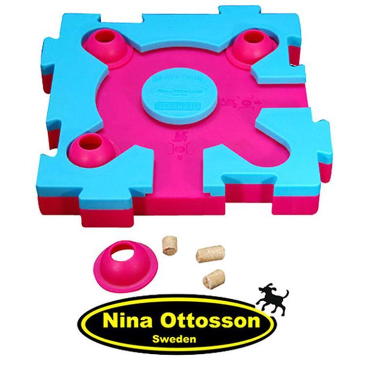 瑞典Nina Ottosson 寵物益智玩具 貓貓混很大拼拼樂(初階/粉藍+桃紅)