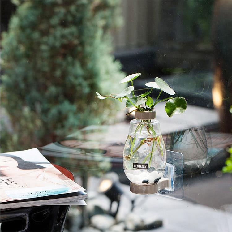 療癒植物容器 壁貼式 小花瓶(DY525 灰色) 2入
