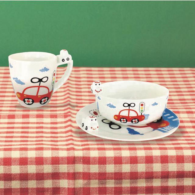 【義大利 e-my】寶寶車車圖案陶瓷杯碗盤組
