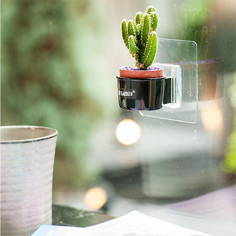 療癒植物容器/壁貼式/1吋盆栽架(DY521)/黑色3入